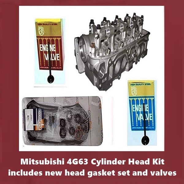 Mitsubishi 4G63 Cylinder Head Kit includes new head gasket set and valves