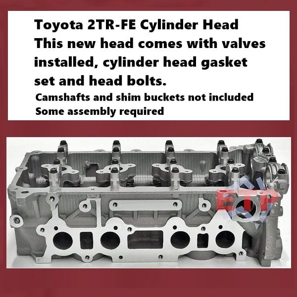 Toyota 2TR-FE cylinder head with valves fitted-gasket set and head bolts